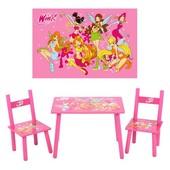 Детский столик и два стульчика Винкс,  Winx