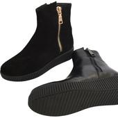 Женские зимние ботинки из натурального замша и кожи