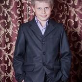 Школьный костюм-тройка для мальчика темно-серый