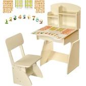 Акция до 31.05.17! Детская парта + стульчик растущие Белая, Финэкс
