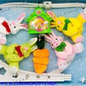 Детская заводная плюшевая карусель (мобиль) на кроватку Зайки
