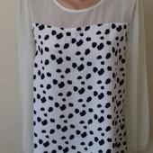 Вискозная блуза с шифоновыми рукавами