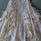 Кремовая длинная юбка