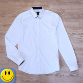Рубашка в мелкую полоску H&M р. L, рост 180 см, ворот 43 см. Идеальное состояние!
