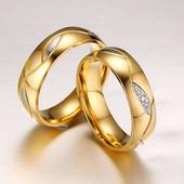 Обручальное кольцо позолота код 127