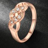 Кольцо покрытие золото с цирконами р 16,17,19