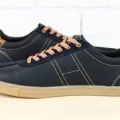 Код: 2246 Кеды мужские синие кожаные с коричневыми вставками на шнурках