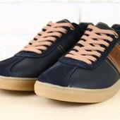 Кеды мужские синие кожаные с коричневыми вставками на шнурках