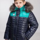 Зимняя куртка для мальчика с натуральным мехом 128-156р.