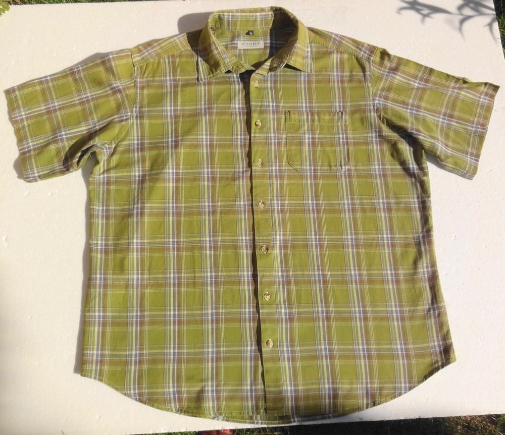 C&A Canda. Оливковая рубашка с нюансом и коротким рукавом. фото №1