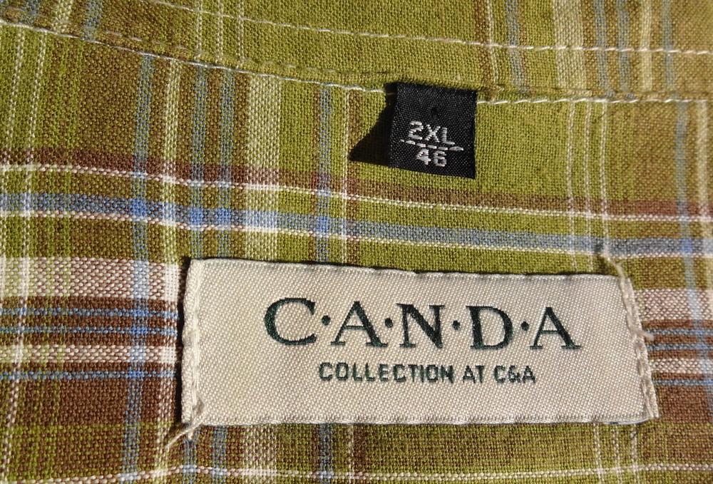 C&A Canda. Оливковая рубашка с нюансом и коротким рукавом. фото №2