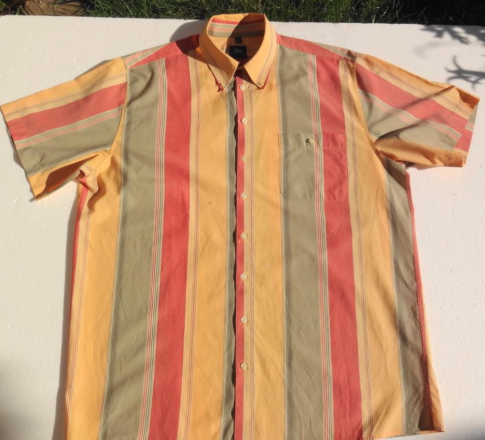 Man's world. пастельная полосатая рубашка с коротким рукавом. германия. ворот 43/44 фото №2