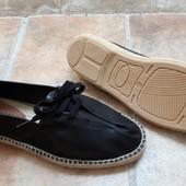 Кожаные эспадрильи на шнуровке, 39-45р черный, Испания