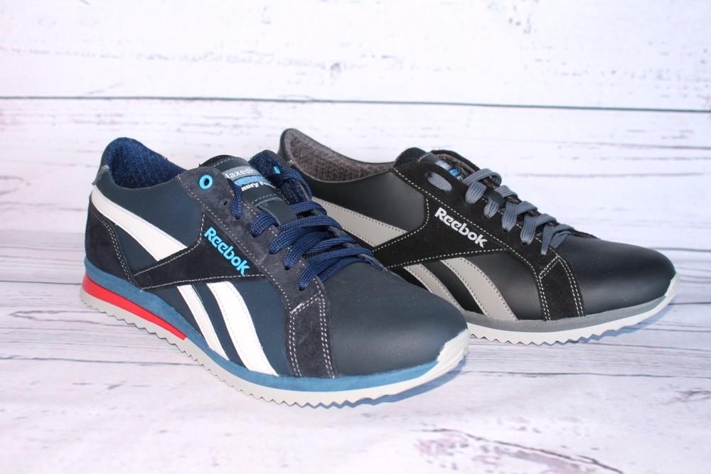 Кроссовки кожаные мужские, черные и синие фото №1
