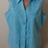 Голубая льняная блуза