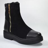 Новинка ! женские кожаные ботинки модель: СТЛ-466, черн замш/черн кожа