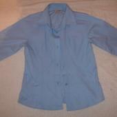 Фирменная Next голубая рубашка блузка для школы девочке 7-8 лет