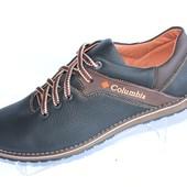 Демисезонные мужские туфли М20, кожаные, черно-коричневые