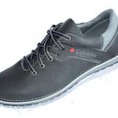 Скидка! Туфли кожаные мужские, черно-серый цвет