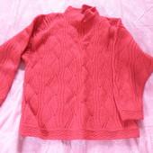 Красный свитер, вязался под заказ п/шерсть