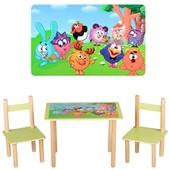 Детский столик деревянный f066, 2 стульчика,Смешарики