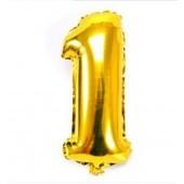Фольгированная цифра 1 Золото, 80 см