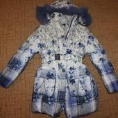 пальто зимнее с жилеткой девочке 8-9 лет