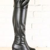 Ботфорты кожаные на толстом устойчивом каблуке евро зима