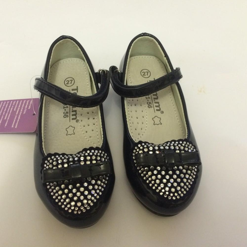 Туфли для девочки со стразами том.м синие фото №1