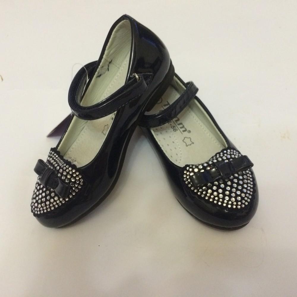 Туфли для девочки со стразами том.м синие фото №3