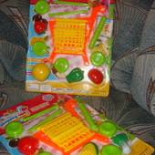 Тачка тележка детская на колёсах для продуктов с половинками пополам овощей/фруктов подарочный набор