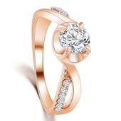 Позолоченное кольцо с кристаллами код 225