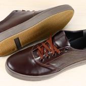 Мужские спортивные туфли темно-коричневые кожаные на шнурках