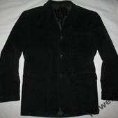Четкий мужской вельветовый пиджак черный 52 размер