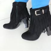 Ботинки на каблуке эко замша бахрома R7912
