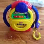 Fisher Price магнитофон с микрофоном. Имитация голоса, запись, звук. Отличное состояние. Супер цена