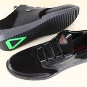 Мужские спортивные туфли Lacoste черные из натуральной замши