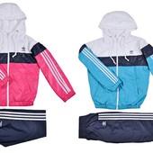 СП дитячих спортивних костюмів з італійської плащовки. Рожеві і голубі (2 кольори)