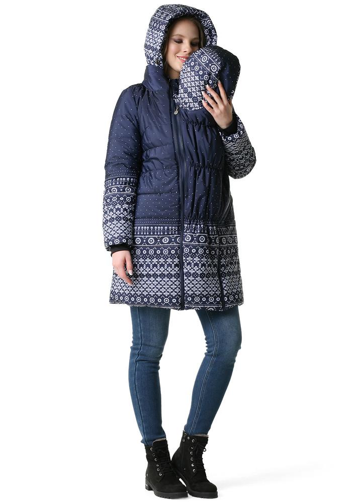 Куртка 3в1 зимн. малайзия для беременных и слингоношения узоры на синем фото №1