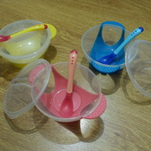 Набор детской посуды на присоске 3 предмета, меняет цвет при перегреве еды. 3 расцветки в наличии!!!