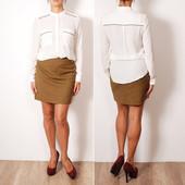 Молочно-белая блуза с воротником-стойкой и плоскими нагрудными карманами   BL35021