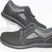 Мужские кожаные туфли черно-серого цвета
