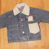 Джинсовый пиджак для ребенка 6-9 месяцев. 74 см