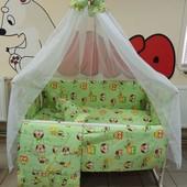 Новинка! Bonna 9 в 1 Детское постельное белье в кроватку салатовые совы