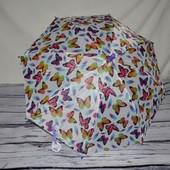 Очень яркий зонтик зонт детский полуавтомат с изображением бабочки тканевый