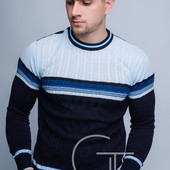 Двухцветный теплый мужской свитер 50, 52, 54
