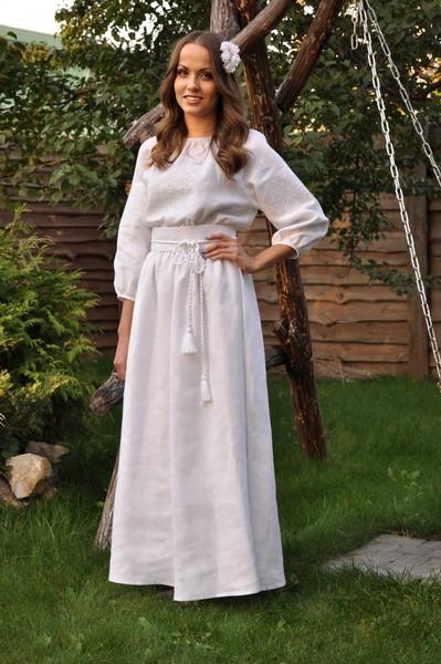 Сукня вишита білим по білому фото №1