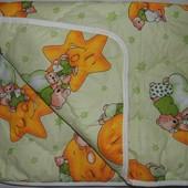 Детское одеяло в кроватку для новорожденного Мишки горох салатовый. Украина. 138х101см