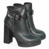 Демисезонные кожаные ботинки, темно - зеленого цвета
