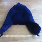 мужская шапка синяя вязаная ушанка